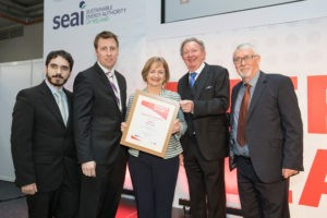 No repro fee 6-4-2017 Pictured at the SEAI Energy Show 2017 Product of the Show awards ,Best lighting product category won by Litho Circuits Ltd from left Rodrigo Munoz Montes,Litho Circuits Ltd.;David Doherty,judge; Majella Kelleher,Head of Energy Demand Management,SEAI; Frank Keohane; and Colm Egan,Litho Circuits Ltd.Pic:Naoise Culhane-no fee